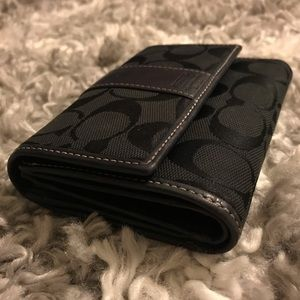 Black Coach Trifold Wallet